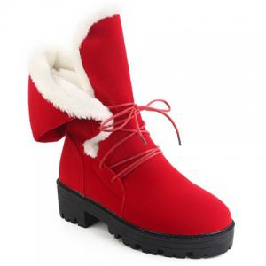 Chunky Heel Tie Up Flock Boots - RED 39