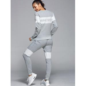 Letter Pattern Sweatshirt With Pants Gym Outfits -