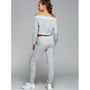 Off The Shoulder Sweatshirt With Pants Gym Outfits - LIGHT GRAY L