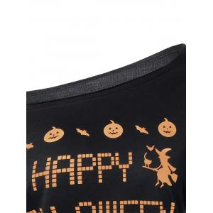 Skew Neck Witches Print Halloween Sweatshirt -