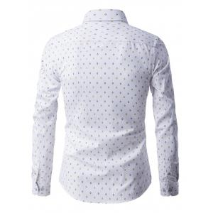 Rhombus Pattern Button-Up Long Sleeve Shirt - WHITE 3XL