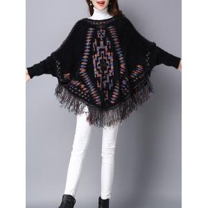 Loose Dolman Sleeve Fleece Fringed Swater - BLACK ONE SIZE