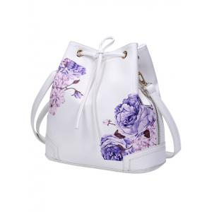 Side Zip Peony Print Drawstring Backpack -