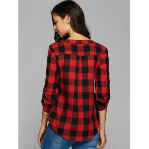 Plaid Loose-Fitting Cotton Blouse - RED M