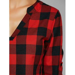 Plaid Loose-Fitting Cotton Blouse - RED XL