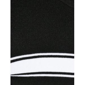 Stripe Plus Size Bodycon Sweater Dress - BLACK 5XL