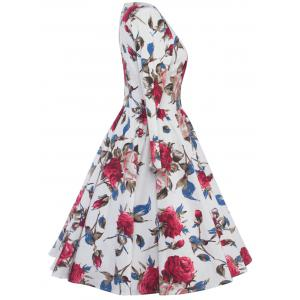 High Waist Floral Skater Dress with Sleeves - WHITE 2XL