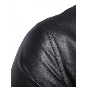 Side Zipper-Up Turn-Down Collar Faux Leather Jacket - BLACK 5XL