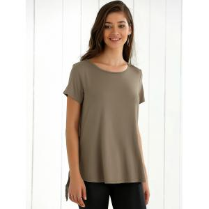 Back Slit Lace Splicing T-Shirt - KHAKI XL