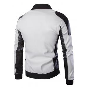 Ventilate Design Color Block Faux Leather Jacket - WHITE 5XL