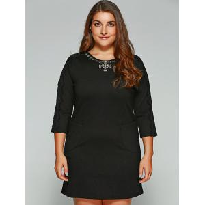 Plus Size Lace Trim Rhinestone Embellished Dress - BLACK 4XL