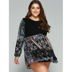 Plus Size Lace Splicing Smock Dress -