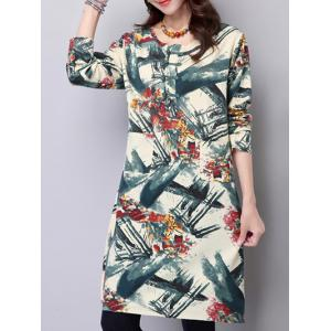 Long Sleeve Loose Vintage Print Dress - GREEN 2XL