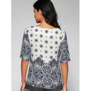 V Neck Elbow Sleeve Printed T-Shirt - BLUE AND WHITE XL