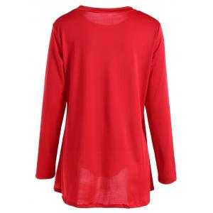 Long Sleeves Buttoned Asymmetrical T-Shirt - RED XL
