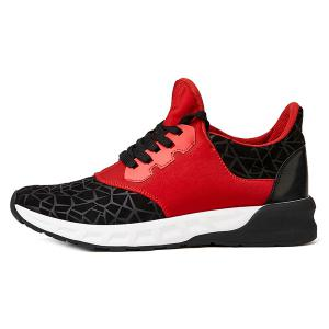 Lace-Up Geometric Print Flock Athletic Shoes -