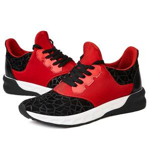 Lace-Up Geometric Print Flock Athletic Shoes - RED/BLACK 43