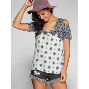 V Neck Open Shoulder Printed T-Shirt - BLUE AND WHITE XL