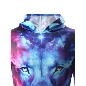 3D Starry Sky and Lion Print Hooded Long Sleeve Hoodie - COLORMIX XL