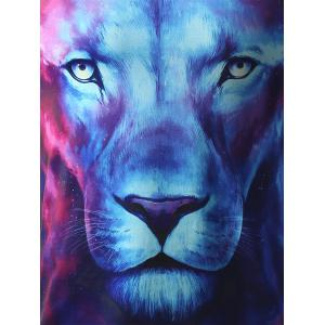 3D Starry Sky and Lion Print Hooded Long Sleeve Hoodie -