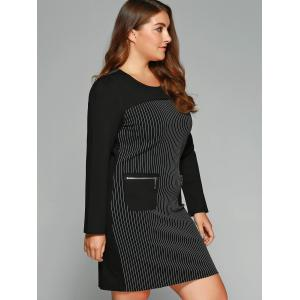 Plus Size Striped Zipper Pockets Dress -