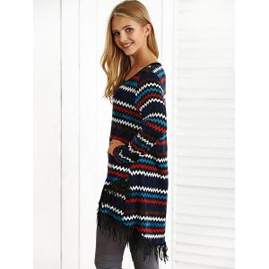 Zigzag Fringed High Low Mini Dress -