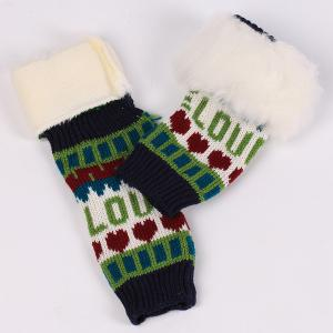 Pair of Knitted Love Letter Plush Fingerless Gloves -