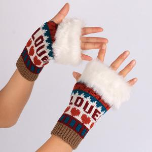 Pair of Knitted Love Letter Plush Fingerless Gloves - WINE RED