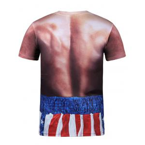 Striped 3D Print Round Neck Short Sleeves T-Shirt - COMPLEXION 3XL
