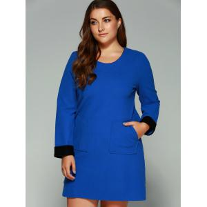 Plus Size Double Pockets Shift Dress -