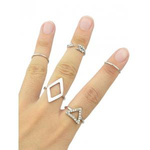Rhinestone Alloy Triangle Jewelry Set Rings - SILVER ONE-SIZE
