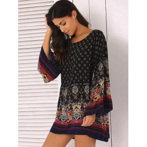 Ornate Printed Shift Dress With Sleeves - BLACK XL