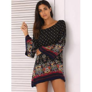 Ornate Printed Shift Dress With Sleeves - BLACK 2XL