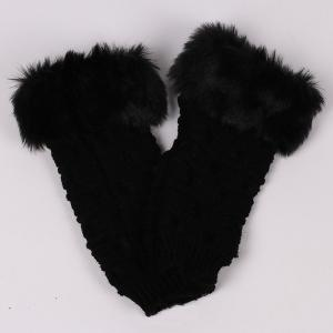 Hiver Faux Rabbit Fur Knitting Butterfly Hand Fingerless Gloves - Noir