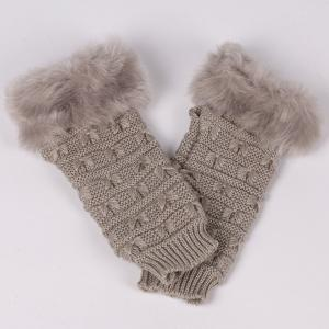 Winter Faux Rabbit Fur Knitting Butterfly Hand Fingerless Gloves - GRAY