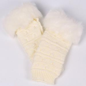 Winter Faux Rabbit Fur Knitting Butterfly Hand Fingerless Gloves -