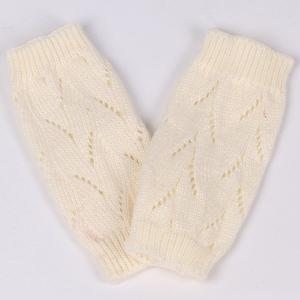 Branch Pattern Crochet Hand Fingerless Gloves - OFF WHITE
