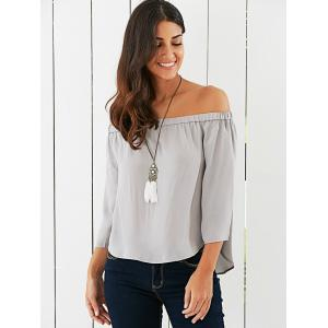 Off The Shoulder Back Bowknot Decorated Blouse - LIGHT GRAY XL