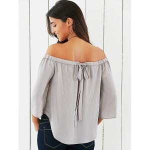 Off The Shoulder Back Bowknot Decorated Blouse - LIGHT GRAY S