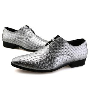 Pointed Toe Woven Pattern Tie Up Formal Shoes - SILVER 41