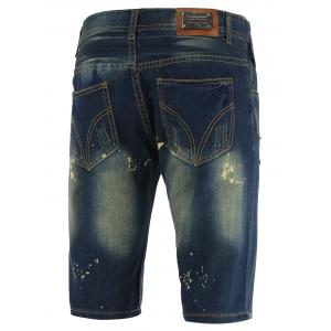 Knee Length Straight Leg Scratched Ripped Denim Shorts - BLUE 40