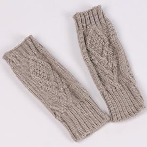 1 Pair Warm Rhombus Line Crochet Fingerless Gloves - GRAY