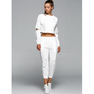 Long Sleeve Crop Top and Zippers Harem Pants -