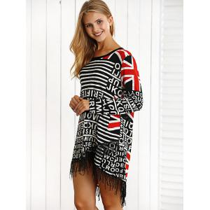 Letter Print Fringed High Low Mini Dress -