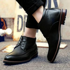 Lace Up Pointed Toe PU Leather Formal Shoes - BLACK 43