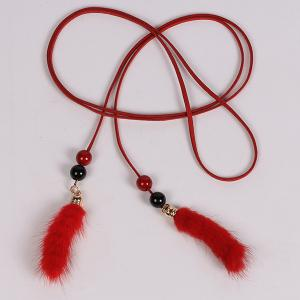 Perle Double et Peluche Tassel taille Rope - Rouge