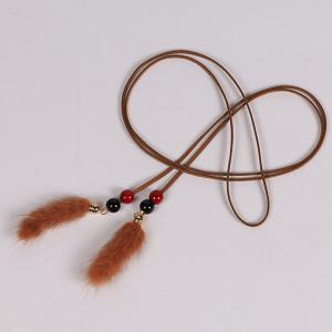 Double Bead and Plush Tassel Waist Rope - BROWN