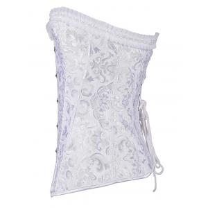 Jacquard Lace-Up Pleated Corset -