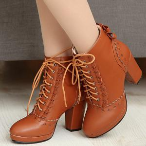 Floral Engraving Chunky Heel Short Boots -