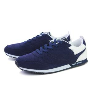 Colour Splicing Suede Tie Up Athletic Shoes -
